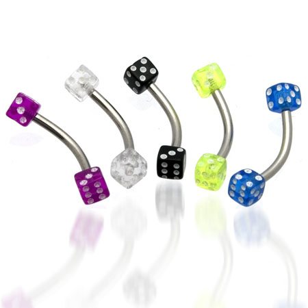 UV Dice Eyebrow Ring Details