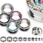 CZ stone 316l stainless steel flesh tunnel, cz jewelry ear plugs Details