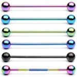 Titanium 316l stainless steel Tongue Barbells, straight barbell, tongue rings,body piercing jewelry Details