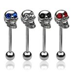316l stainless steel Tongue Barbells with skull, straight barbell, tongue rings,body piercing jewelr Details