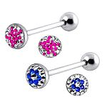 316l stainless steel Tongue Barbells with paved cz stones, straight barbell, tongue rings,body pierc Details
