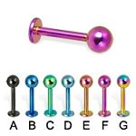 Anodized 316l stainless steel labret with balls,body piercing jewelry,fashion jewelry,lip rings,labr Details